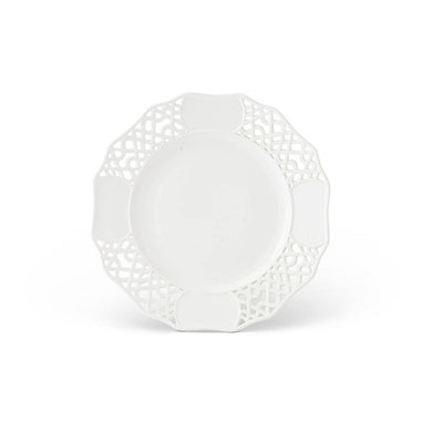 15 Inch White Ceramic Platter with Ornate Rim 2