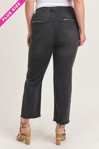 Plus Size Raw Hem Straight Fit Black Jeans