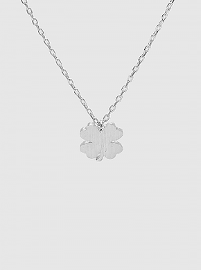 Rhodium Dipped Shamrock Clover Pendant Necklace