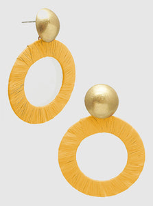 Bright Mustard Raffia Wrapped Metal Hollow Round Dangle Drop Earrings