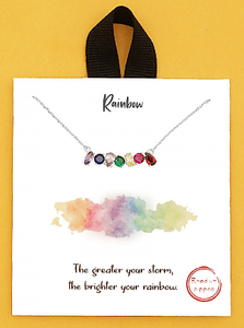 Rhodium Dipped Rainbow Crystal Pave Delicate Necklace