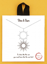 Load image into Gallery viewer, Rhodium Dipped Crystal Pave Sun Pendant Delicate Necklace