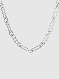 Rhodium Plated Metal Link Hardware Chain Choker Necklace
