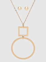 Rose Gold 2 Tier Brushed Metal Square Round Pendant Necklace