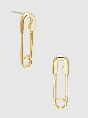 Gold Safety Pin Stud Earrings