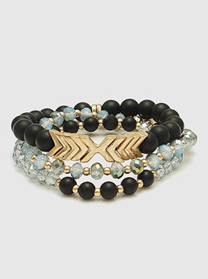 Set Of 3 Natural Stone Multi Beads With Metal Arrow Stackable Stretch Bracelet