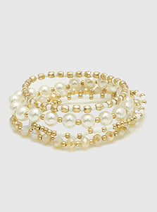 Set Of 4 Pearls With Mutli Beads Stackable Stretch Bracelet