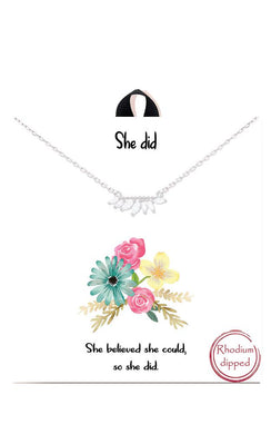 She Did Empowerment Rhinestone Delicate Necklace in Rhodium