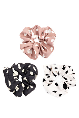 Spotted Ruffled Scrunchies - 3 Colors