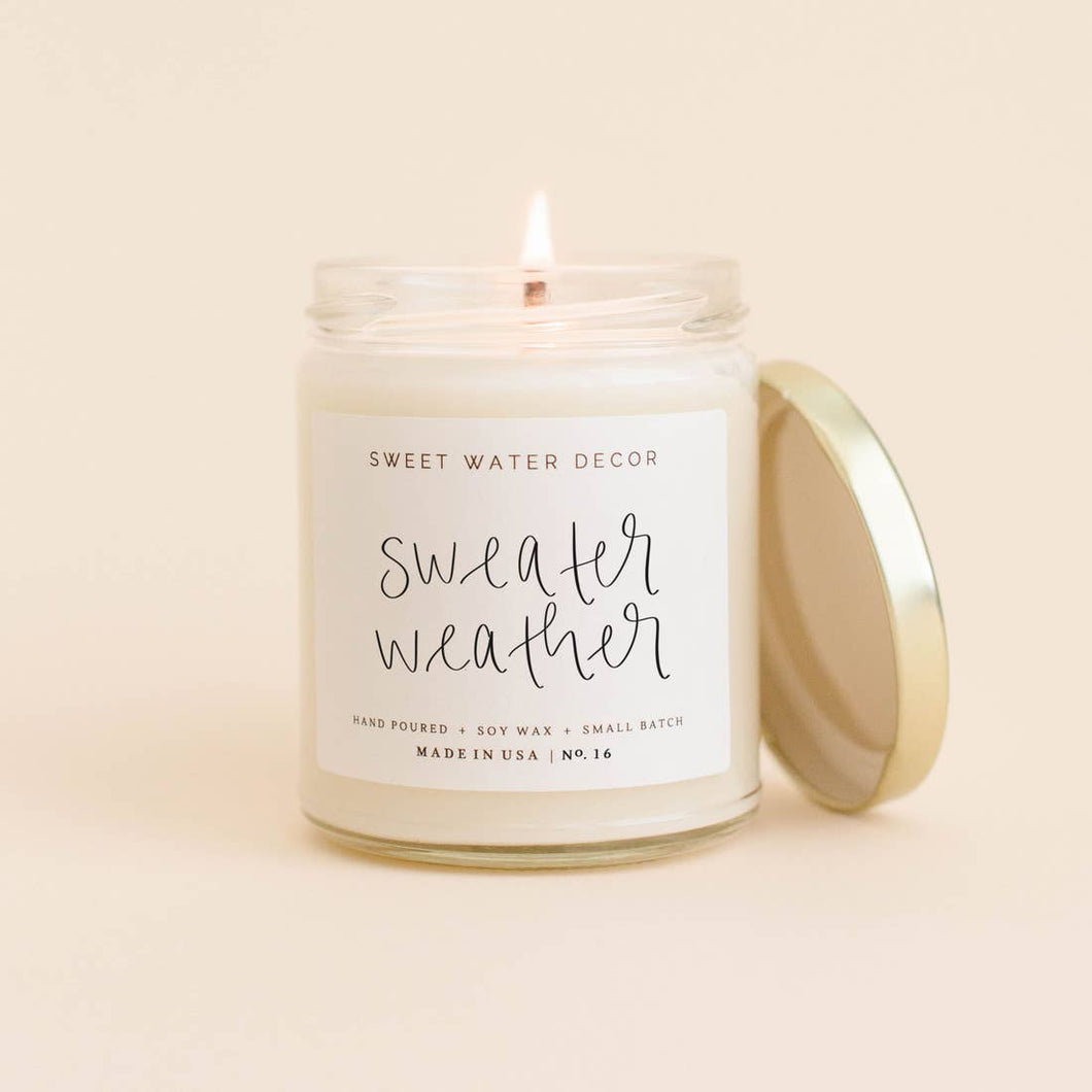Sweater Weather Soy Candle | White Jar Gold Top