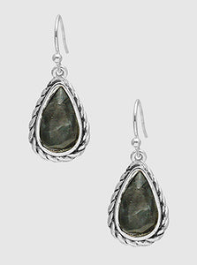 Tailored Rope Textured Metal Teardrop Dangle Drop Earrings