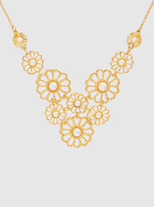 Gold Textured Metal Flower Link With Pearl Necklace
