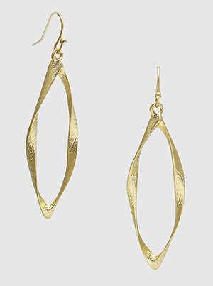 Gold Textured Twist Metal Linear Frame Earrings