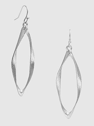Silver Textured Twist Metal Linear Frame Earrings