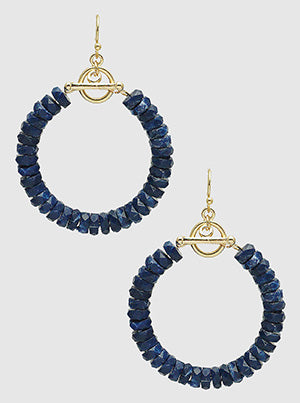 Toggle Clasp Bead Hoop Dangle Drop Earrings