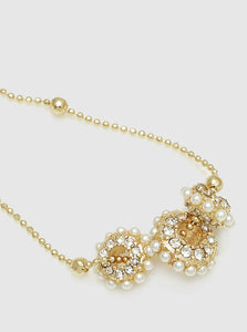 Gold Tri Pearls Dainty Pendant Satellite Chain Necklace