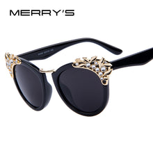 Load image into Gallery viewer, MERRY'S Fashion Flower Crystal Decoration Women Sun glasses Women Brand Design Butterfly Sun glasses 5 Color