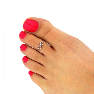Foot Rings For Women 2PC Adjustable Women lucky Infinite Silver Metal Toe Ring Foot Beach Jewelry Bague Femme
