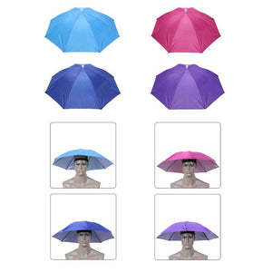 Folding Head Umbrella Rain Gear Hat Cap Umbrella for Outdoor Fishing Hiking Beach Camping Headwear Head Umbrella Sunscreen Tool