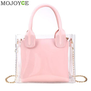 Transparent Jelly Clear Bag Large Tote Bag Summer Beach Bag Large Capacity Candy Holiday Fashion Tote Satchels Messenger Bag