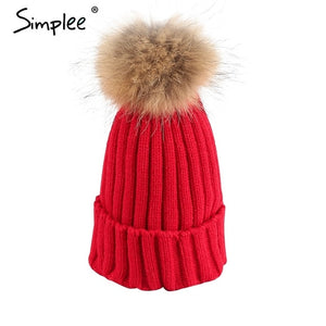 Simplee Removable real fur pompon Bobble hats for women skullies beanies Warm stocking hat 2016 autumn cap winter hat female