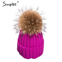 Load image into Gallery viewer, Simplee Removable real fur pompon Bobble hats for women skullies beanies Warm stocking hat 2016 autumn cap winter hat female