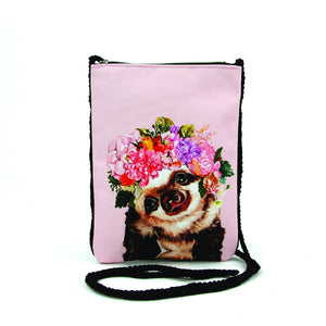 Sloth with Floral Crown Crossbody Pouch