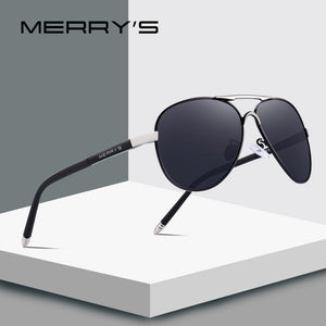 MERRY'S Men Classic Pilot Sunglasses HD Polarized Aluminum Driving Sun glasses Luxury Shades UV400 S'8513