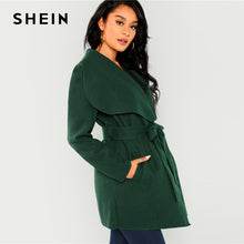 Load image into Gallery viewer, SHEIN Green Waterfall Collar Self Belted Coat Elegant Long Sleeve Pocket Long Trench Coats Women Winter Highstreet Outerwear