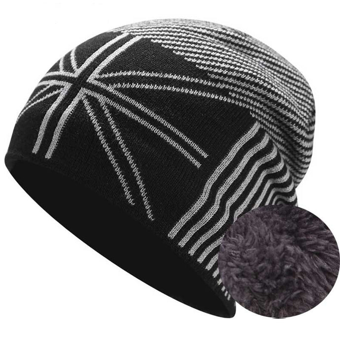 Wool Skullie Beanie Hat With Fleece Men Winter Knitted Hats