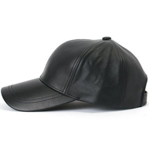 Unisex Men Women Black PU Leather Baseball Cap Hat
