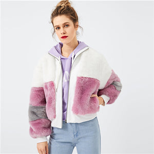 SHEIN Zip Colorblock Elegant Faux Fur Teddy Coat Women Casual Streetwear Long Sleeve Ladies Outwear Office Warm Winter Coats