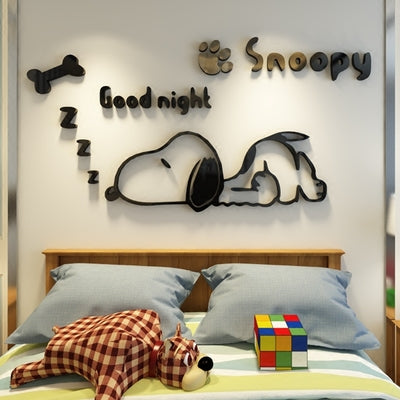 Snoopy kindergarten creative children's room decoration stereo wall stickers bedside bedroom 3d wall stickers anime stickers