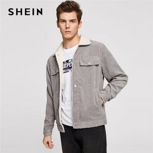 SHEIN Men Grey Casual Button Up Corduroy Solid Single Breasted Stand Collar Jacket 2018 Autumn Winter Mans Coat Outerwear