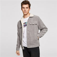 Load image into Gallery viewer, SHEIN Men Grey Casual Button Up Corduroy Solid Single Breasted Stand Collar Jacket 2018 Autumn Winter Mans Coat Outerwear