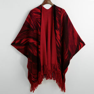 Women Winter Poncho Cape Top Tassel Fringed Cardigan Print Sweater Scarf Coat Red/Grey/Khaki
