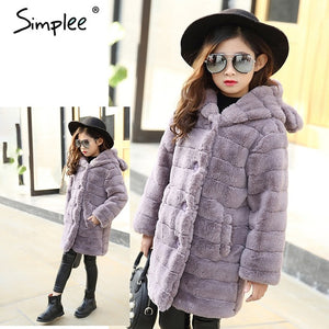 Simplee Elegant girl's warm winter faux fur jacket 2018 Children outerwear girl coat kids clothes Casual family matching outfits