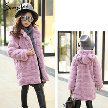 Load image into Gallery viewer, Simplee Elegant girl's warm winter faux fur jacket 2018 Children outerwear girl coat kids clothes Casual family matching outfits