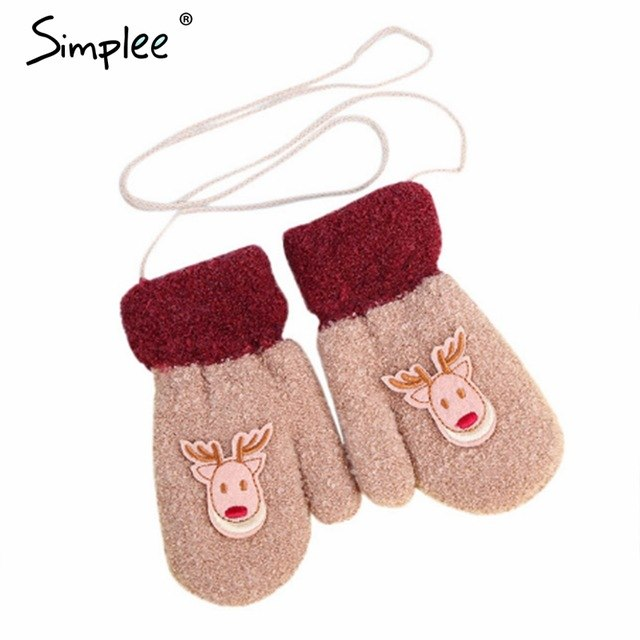54ba22455 ... Load image into Gallery viewer, Simplee Elk warm autumn winter gloves children  christmas gift for ...