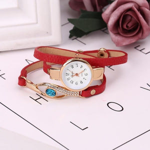 Quartz Vintage 0 Rhinestone Style Multilayer 4inch Leather Women Button 1cm Fashion Wristwatches Bracelet Casual Watch