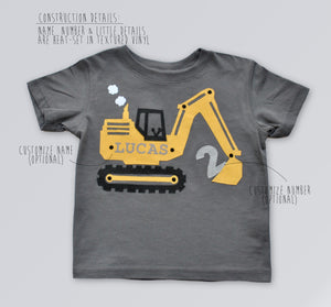 Construction Birthday Party Shirt, Digger, Excavator Shirt theme