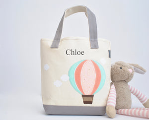Small Mint Hot Air Balloon Tote, Personalized Nursery Baby Shower gift,  Kids Library bag