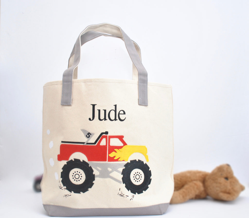 Large Personalized Monster Truck Tote , Boys Preschool tote bag