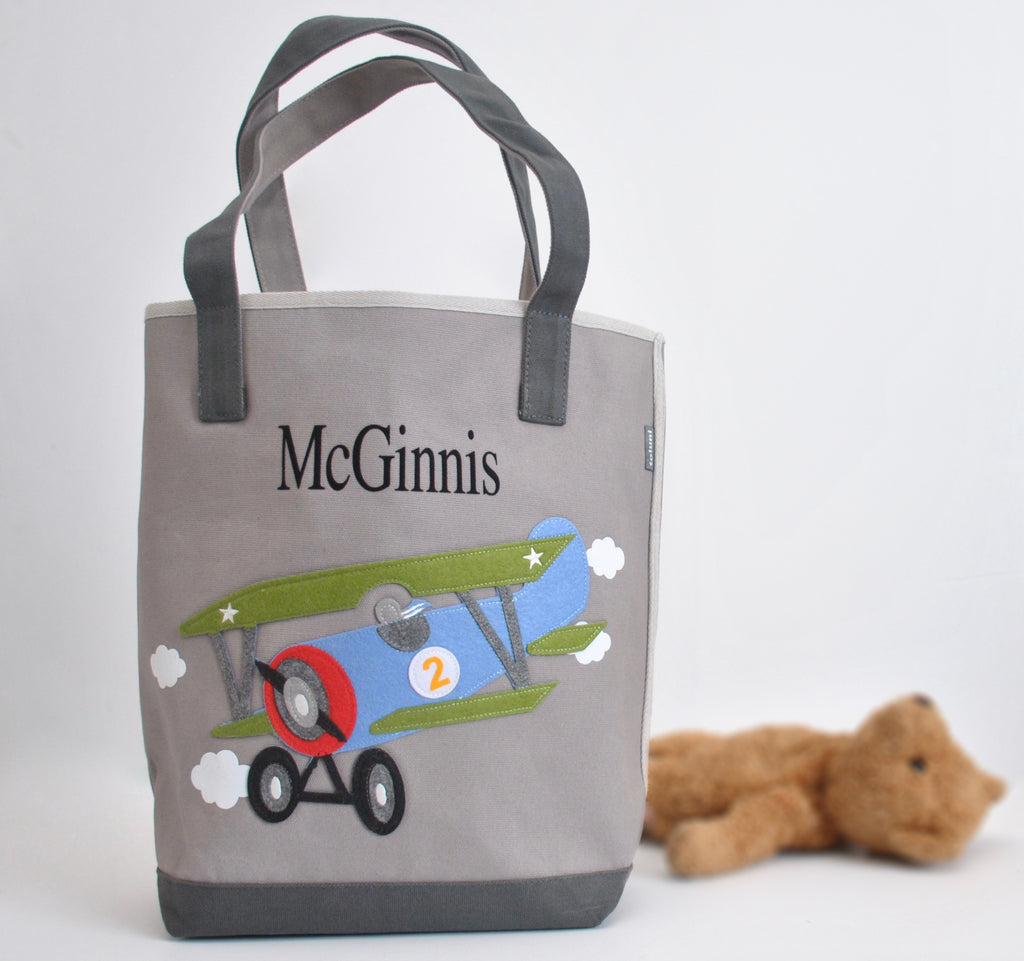 Gray Airplane Tote bag | Personalized Boys Tote