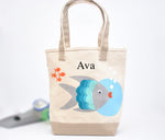 Fish Tote, toddler Preschool tote bag, Beach tote