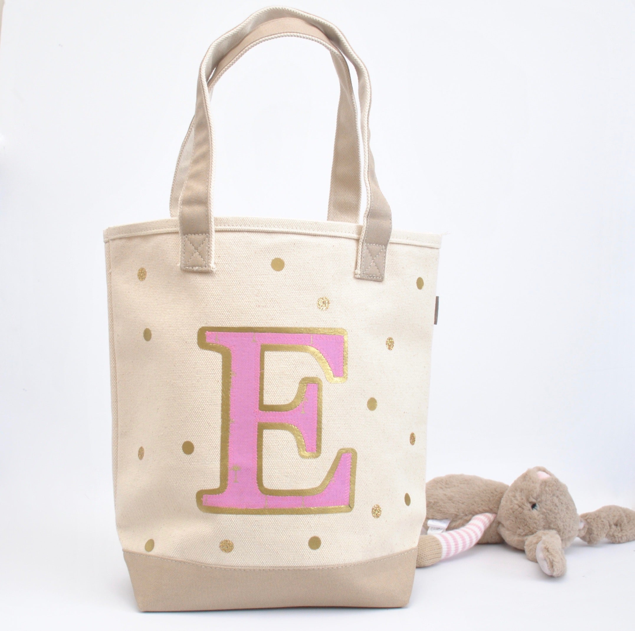 Personalized Pink Initial Tote, Girls Library book bag, Preschool Tote bag