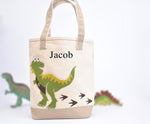 Personalized Dinosaur Tote Bag -Medium, Boys Preschool tote bag, Kids Library book bag