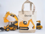 Personalized Medium Digger Tote, Boys Construction Preschool tote bag