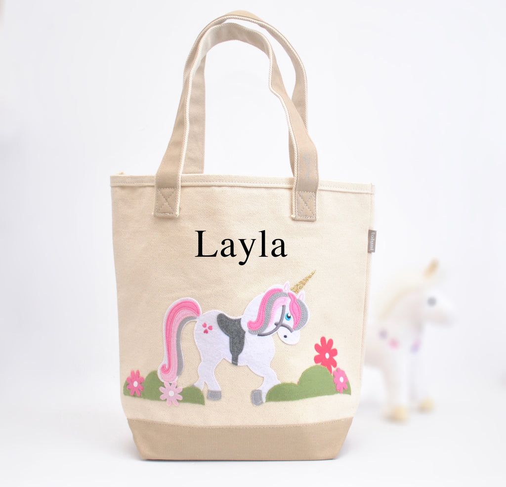 Personalized Unicorn Tote bag, Girls Preschool tote Bag