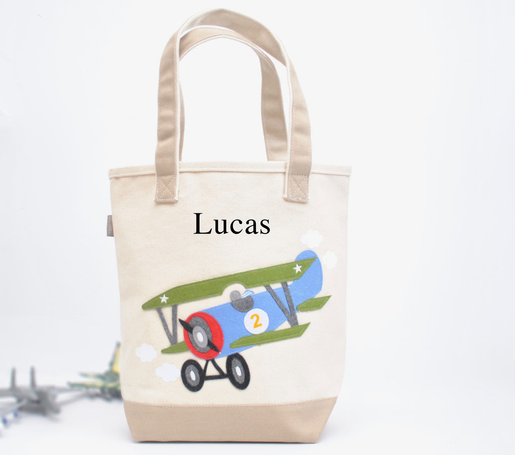 Airplane Tote Bag | Personalized Boys Preschool Tote